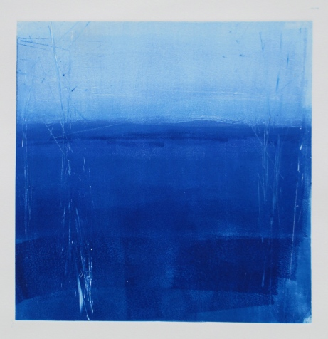 Open Water, monotype, 20 x 20