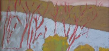 Winter Window View, pastel, 4 x 8